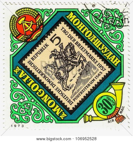 Mongolia - Circa 1973: Stamp Printed By Mongolia, Shows Deutch Stamp Warrior, Circa 1973
