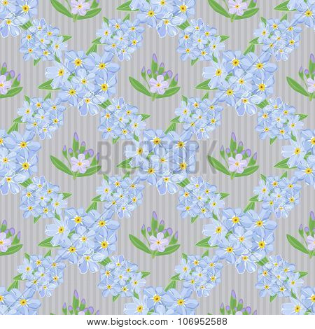 Abstract texture with forget-me-not. Seamless pattern with flower bouquet ornament