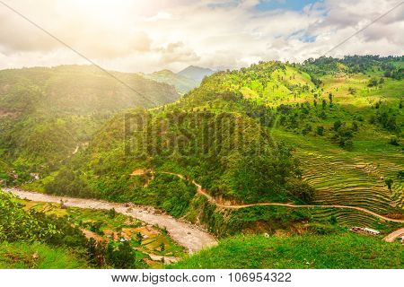 Beautiful landscape with rural road and river in mountains, Annapurna area, Nepal