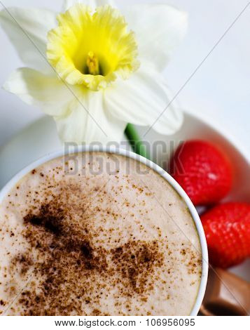 Coffee Mocha With Strawberries Chocolate Flower Concept