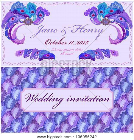 Peacock Feathers Wedding Invitation. Vintage Elegant Design.
