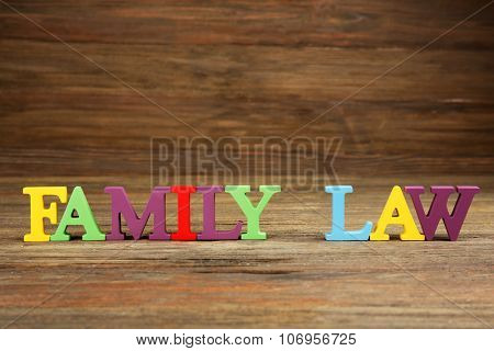 Colourful letters regarding child-custody and family-law concept