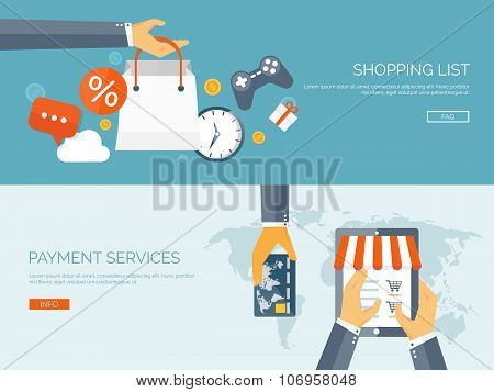 Vector illustration. Flat header. Internet shopping. Web store. Global communication and trading. We