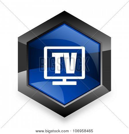 tv blue hexagon 3d modern design icon on white background