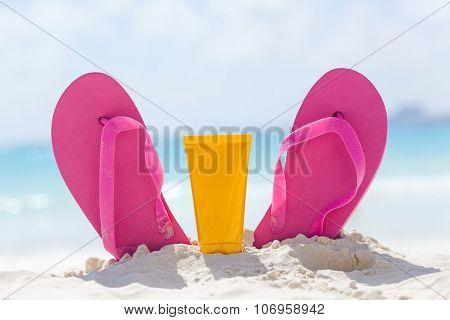 Summer Beach Accessories On Seaside