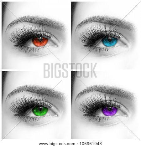 Close-up shot of various eye colors with fake eyelashes