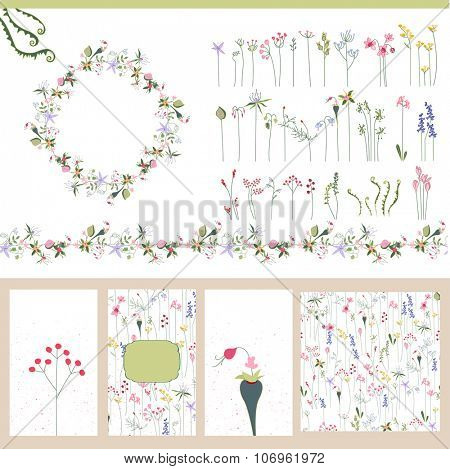 Floral summer templates. For romantic design, announcements, postcards, posters.