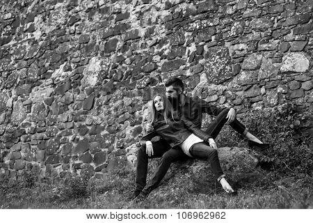 Couple Near Stony Wall