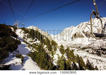 The chairlift in the mountains