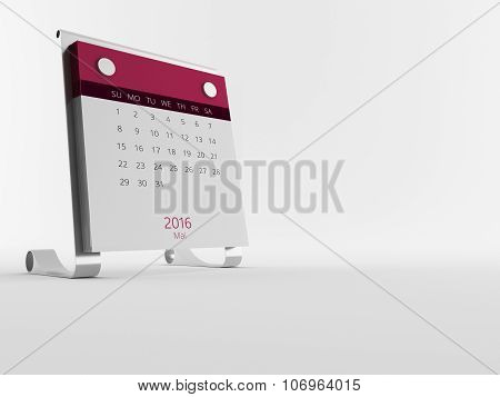 A Calendar Of The Year 2016 In White