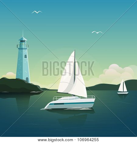 Blue sea with yachts and lighthouse. Sea voyage on the yacht. Yachting. Vector Illustration