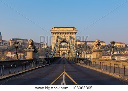 Széchenyi Chain Bridge In Budapest During The Day