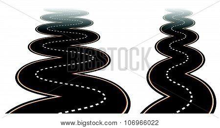 Winding, Zig Zag Roads Vanishing To Transparent.
