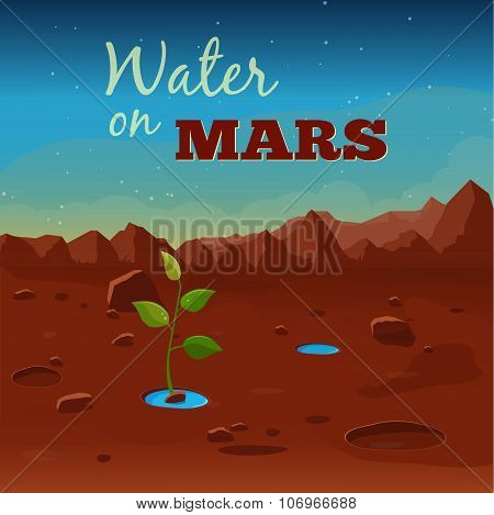 Water on Mars. Vector illustration