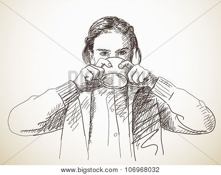 Sketch of teenage girl drinking tea from cup, Hand drawn illustration