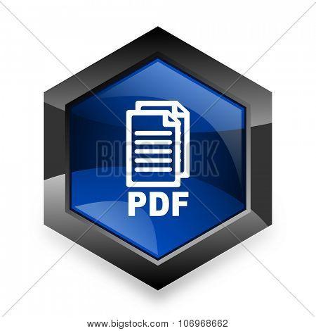 pdf blue hexagon 3d modern design icon on white background,