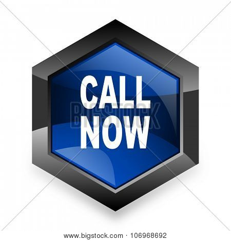 call now blue hexagon 3d modern design icon on white background
