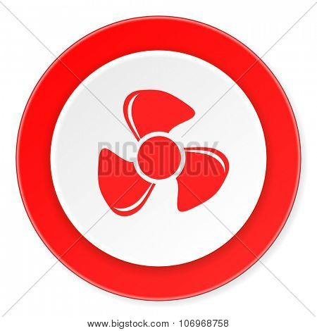 fan red circle 3d modern design flat icon on white background