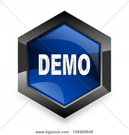 demo blue hexagon 3d modern design icon on white background