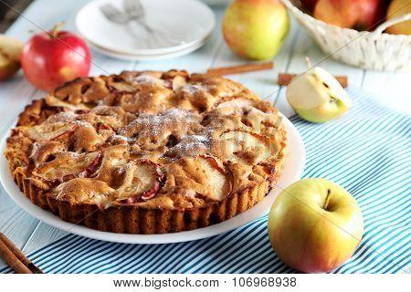 Homemade Apple Cake On Blue Wooden Table