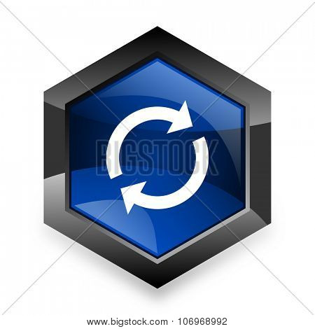 reload blue hexagon 3d modern design icon on white background