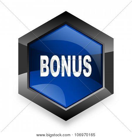 bonus blue hexagon 3d modern design icon on white background