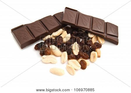 Raisins, Peanuts And Chocolate On White