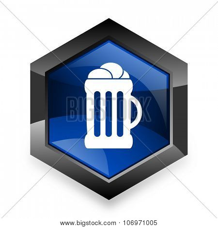 beer blue hexagon 3d modern design icon on white background
