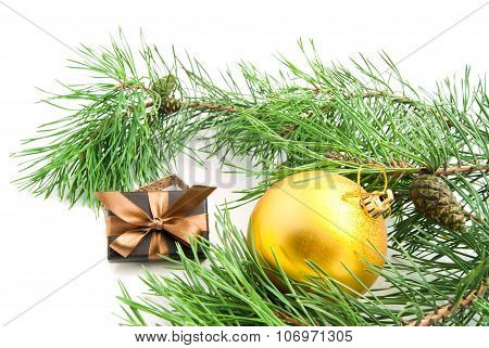 Branch With Cones, Christmas Tree Toy And Gift On White