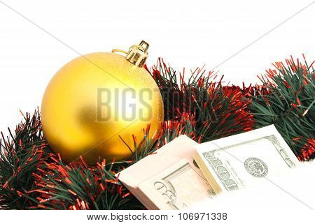 Golden Ball, Tinsel And Banknotes