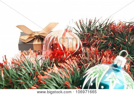 Pair Of Christmas Tree Ornaments And Tinsel