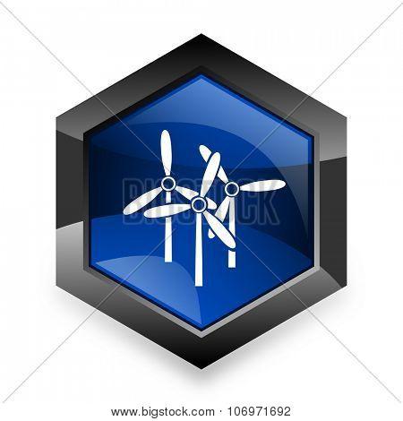 windmill blue hexagon 3d modern design icon on white background
