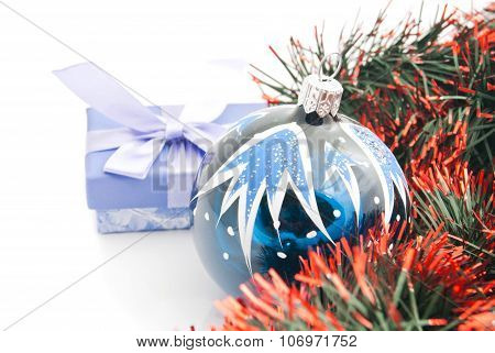 Christmas Tree Ornament, Blue Gift Box And Tinsel