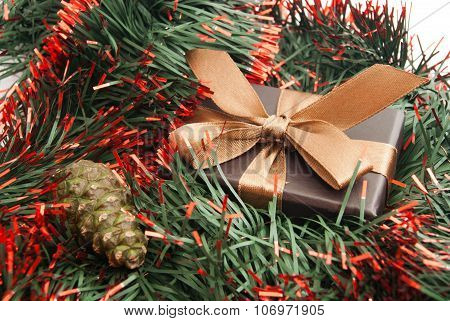 Brown Gift Box, Cone And Tinsel
