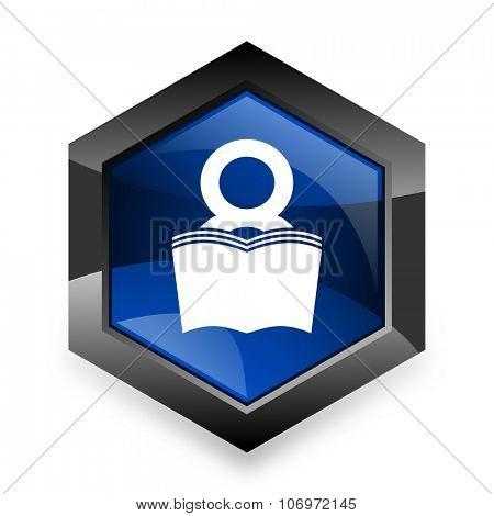 book blue hexagon 3d modern design icon on white background
