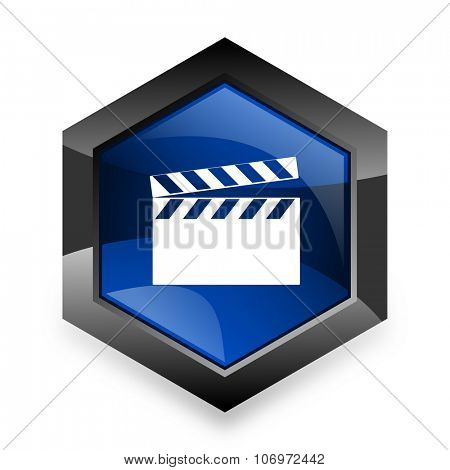 video blue hexagon 3d modern design icon on white background