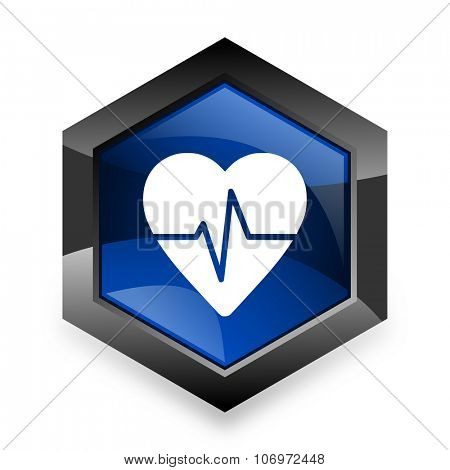 pulse blue hexagon 3d modern design icon on white background