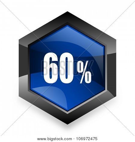 60 percent blue hexagon 3d modern design icon on white background
