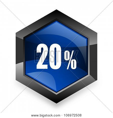 20 percent blue hexagon 3d modern design icon on white background