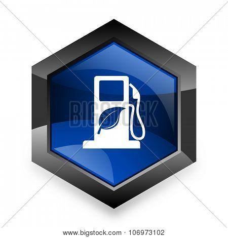 biofuel blue hexagon 3d modern design icon on white background
