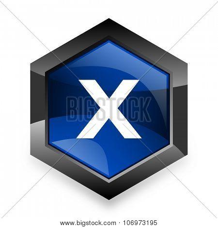 cancel blue hexagon 3d modern design icon on white background