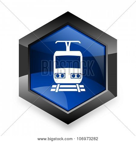 train blue hexagon 3d modern design icon on white background