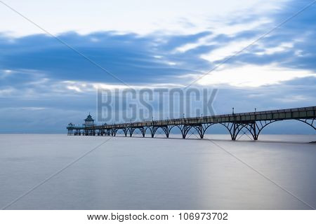 Clevedon Pier At Sunset.