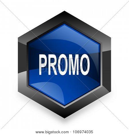 promo blue hexagon 3d modern design icon on white background