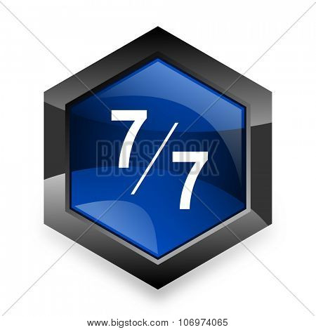 7 per 7 blue hexagon 3d modern design icon on white background