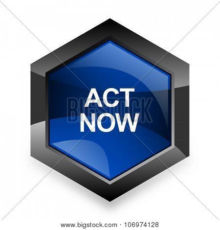 act now blue hexagon 3d modern design icon on white background