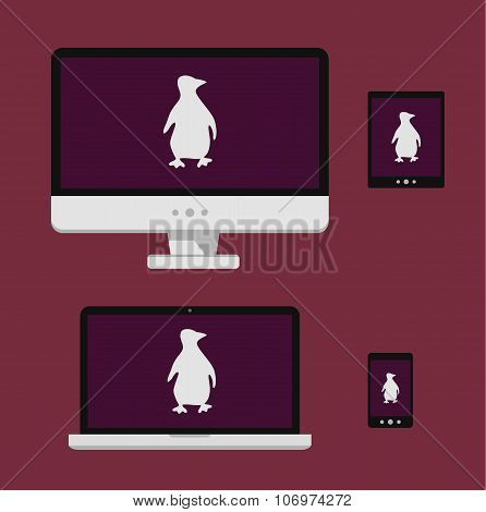 Vector illustration laptop, smartphone, tablet, computer screen with white linux penguin silhouette