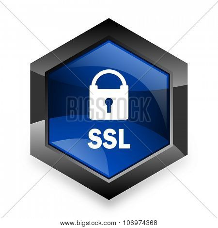 ssl blue hexagon 3d modern design icon on white background