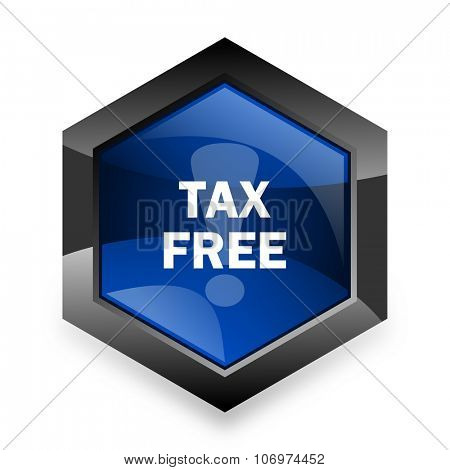tax free blue hexagon 3d modern design icon on white background