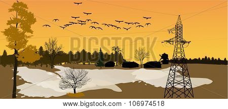 illustration with electric pylon in fall country landscape